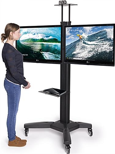 Amazing Trendy Dual TV Stands With Side Side Dual Tv Stand Adjustable Mount With Camera Av Shelves (Image 4 of 50)