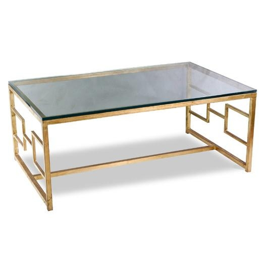 Amazing Trendy Glass Gold Coffee Tables With Regard To Gold Iron Base Glass Coffee Table (View 17 of 50)