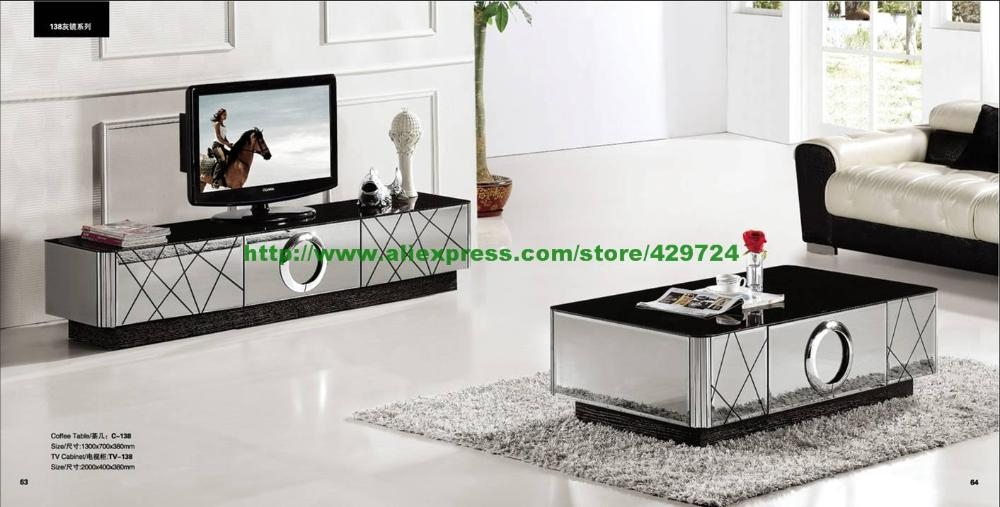 Amazing Trendy Mirrored TV Cabinets Furniture Inside Aliexpress Buy Modern Gray Mirror Modern Furniture Coffee (Image 6 of 50)