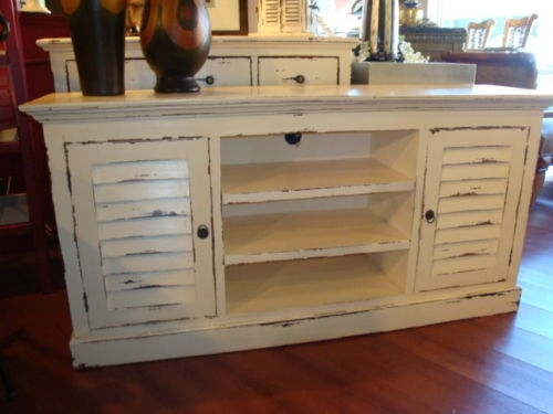 Amazing Trendy Painted TV Stands Throughout Shutter Plasma Tv Stand Cabinet Mahogany Wood Cottage Painted (Image 4 of 50)
