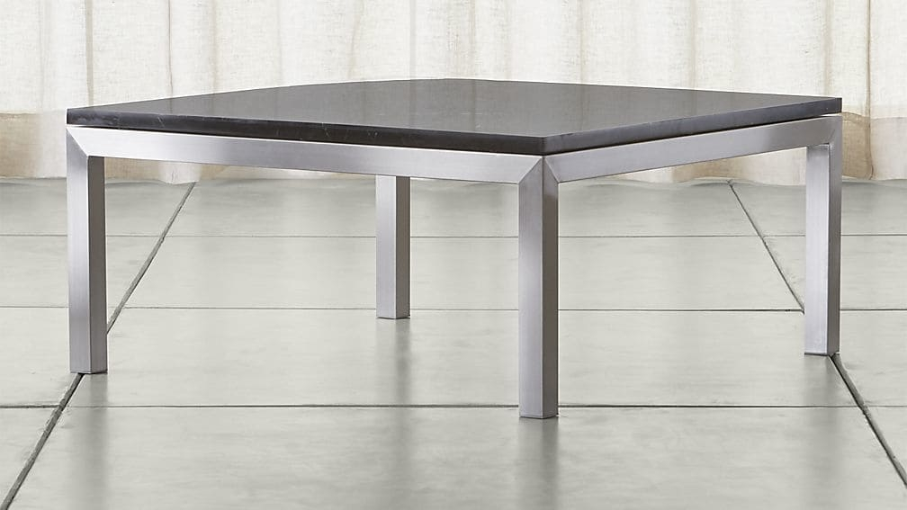 Amazing Trendy Square Black Coffee Tables Within Parsons Black Marble Top Stainless Steel Base 36×36 Square Coffee (View 24 of 40)