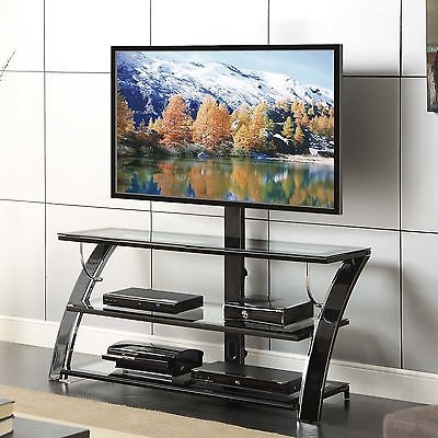 Amazing Trendy Swivel Black Glass TV Stands In Tv Stand Swivel Mount Flat Screen Black Metal Media Console (Image 2 of 50)