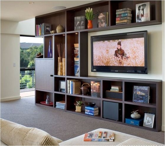 Amazing Trendy TV Stands And Bookshelf Pertaining To Best 25 Shelves Around Tv Ideas Only On Pinterest Media Wall (Image 5 of 50)