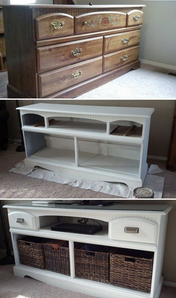 Amazing Trendy White And Wood TV Stands With Best 25 Tv Stand Makeover Ideas Only On Pinterest Dresser Tv (Image 8 of 50)