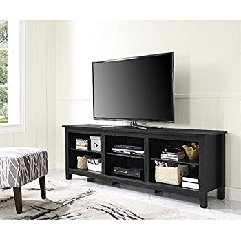 Amazing Trendy Wood TV Stands Pertaining To Amazon We 58 Wood Tv Stand Storage Console Black Kitchen (Image 7 of 50)