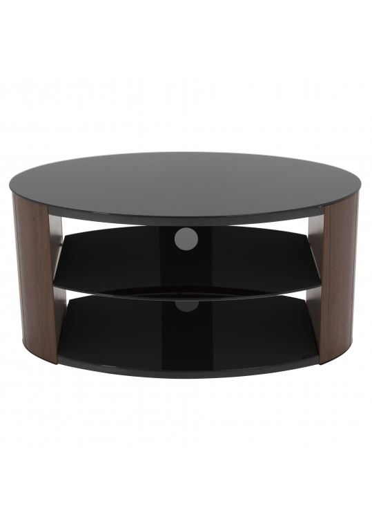Amazing Unique Black Oval TV Stands Within Stylish Walnut Oval Tv Stand With Gloss Black Glass Top And (Image 3 of 50)