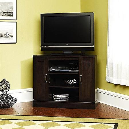 Amazing Unique Dark Wood Corner TV Stands With Tall Corner Tv Stand Designs And Images Homesfeed (Image 2 of 50)