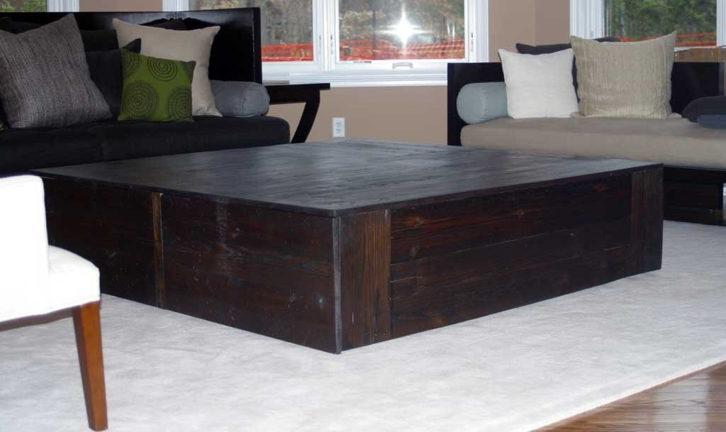 Amazing Unique Large Square Coffee Tables Inside Fabulous Large Square Coffee Table Large Square Rustic Baluster (Image 4 of 50)