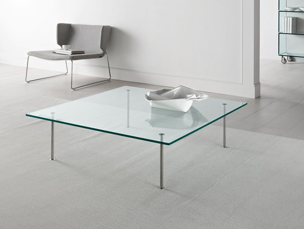 Amazing Unique Low Glass Coffee Tables Regarding Low Custom Square Glass Coffee Table With Small Iron Legs Ideas (Image 6 of 50)