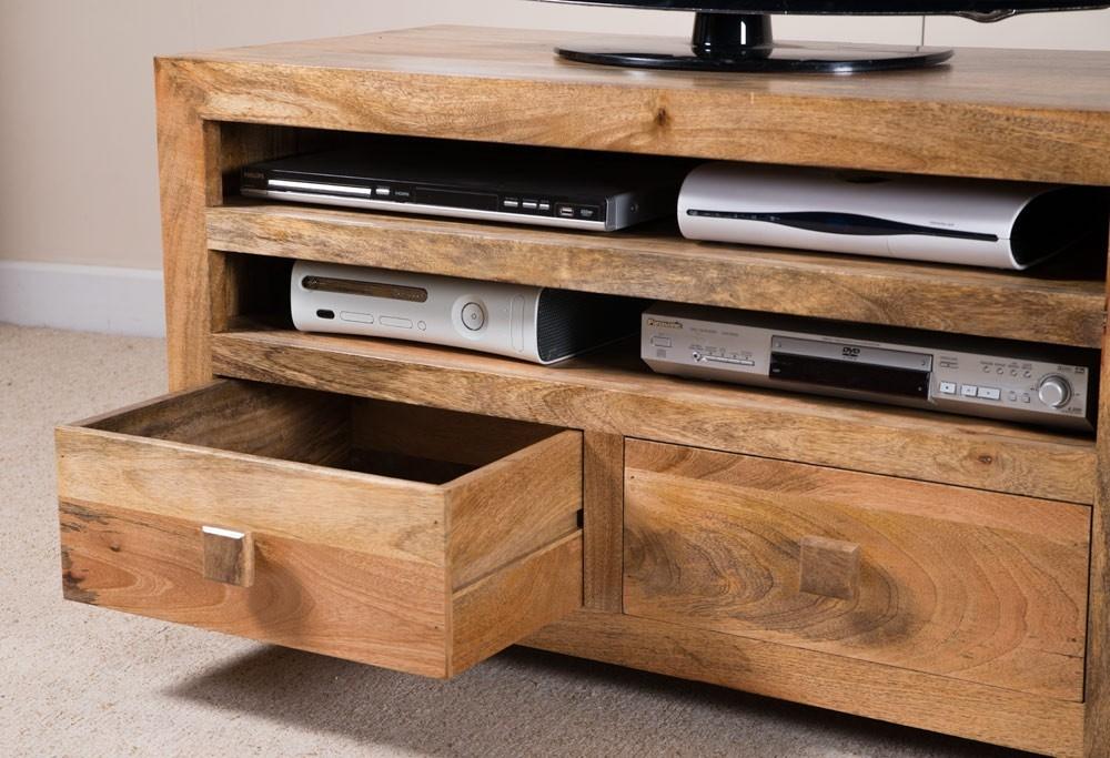 Amazing Unique Mango Wood TV Cabinets Within Dakota Light Mango Large 2 Drawer Tv Cabinet Casa Bella Furniture Uk (Image 3 of 50)