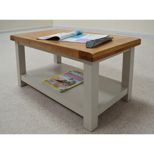 Amazing Unique Oak Coffee Tables With Shelf Intended For Stone Grey Painted Oak Coffe Table With Shelf (Image 1 of 40)