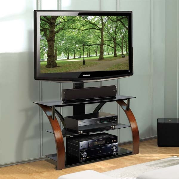 Amazing Unique Swivel Black Glass TV Stands Within Bello 46 In Triple Play Glass Audio Video Stand With Swivel (Image 3 of 50)