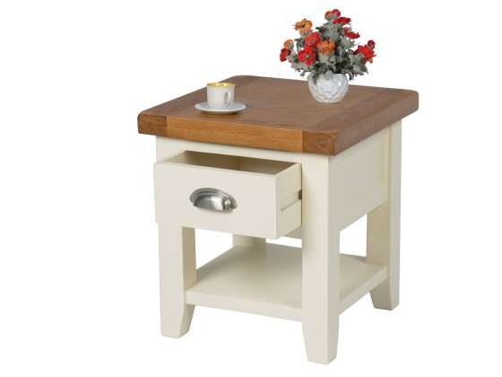 Amazing Variety Of Cream And Oak Coffee Tables Throughout Cottage Cream Painted Oak Lamp Table With Drawer Shelf (Image 4 of 40)
