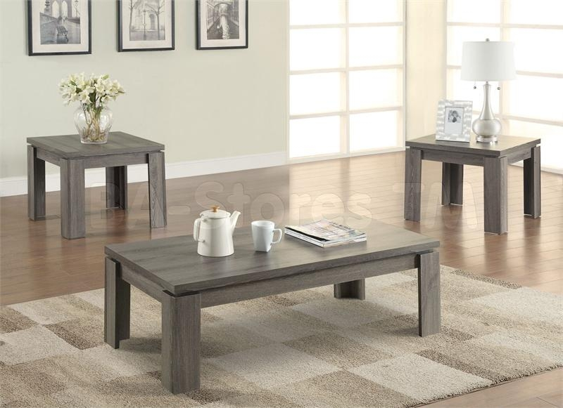 Amazing Variety Of Grey Coffee Table Sets Inside Coaster 701686 Weathered Grey 3 Piece Coffee Table Set (Image 4 of 50)