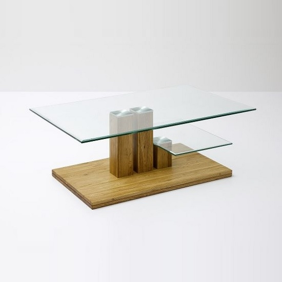 Amazing Variety Of Oak And Glass Coffee Tables Intended For Glass Coffee Table In Clear With Knotty Oak Base (Image 2 of 50)