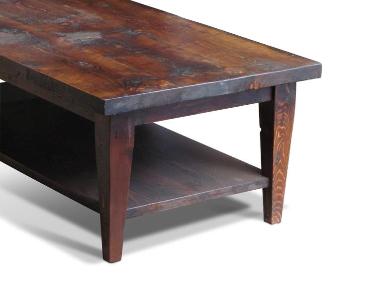 Amazing Variety Of Pine Coffee Tables Regarding Reclaimed Semi Rustic Pine Coffee Table With Bottom Shelf And (Image 6 of 50)