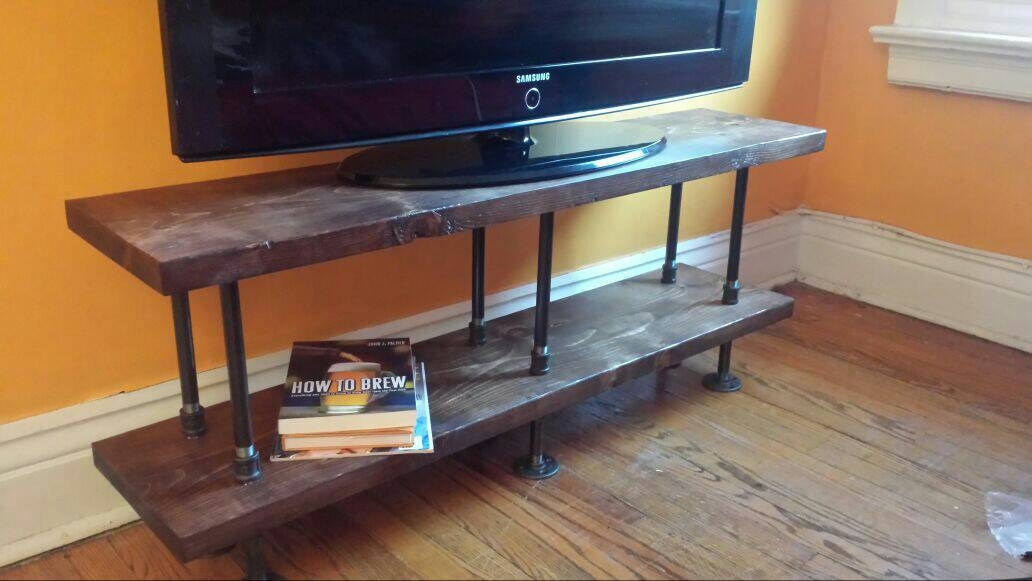 Amazing Variety Of Rustic Furniture TV Stands Within Industrial Tv Stand Media Console Bookshelf Rustic Tv (Image 5 of 50)