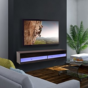 Amazing Variety Of TV Stands With LED Lights Regarding Homcom 180cm High Gloss Wall Mounted Tv Stand Cabinet Amazonco (Image 3 of 50)