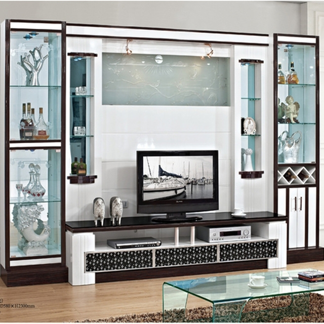 Amazing Variety Of Wall Display Units & TV Cabinets In Fashion Paint Tv Cabinet Combination Tv Wall Decoration Wine Shelf (Image 7 of 50)