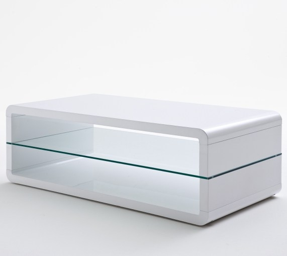 Amazing Variety Of White And Glass Coffee Tables For Agatha High Gloss White Coffee Table With Glass Shelf (View 13 of 40)