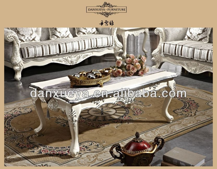 Amazing Variety Of White French Coffee Tables Pertaining To French Rococo Style Wood Carved White Color Silver Foil Coffee (Image 4 of 50)