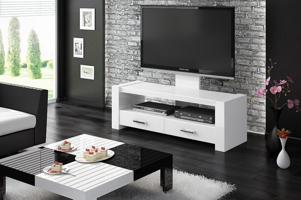 Amazing Variety Of White Gloss TV Stands Pertaining To White Modern Tv Stand Modern Tv Stand Lulu54 White Or Black Tv (Image 4 of 50)
