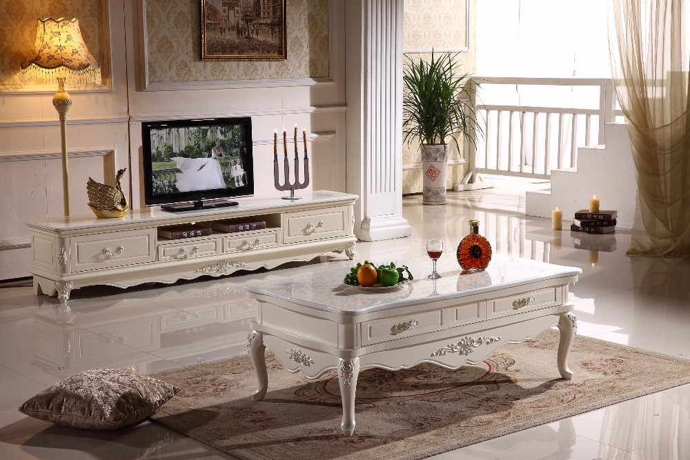 Amazing Variety Of White Wooden TV Stands In White Wooden Tv Stand Storage Drawer Marble Top Made In China (Image 2 of 50)