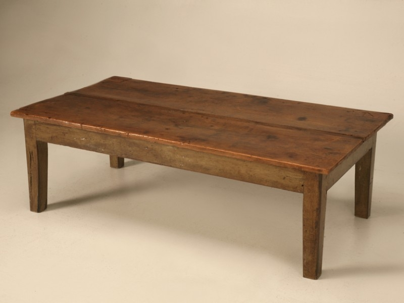 Amazing Well Known Antique Pine Coffee Tables For Orig Rustic Antique French Wide Board Walnut Table (Image 3 of 50)