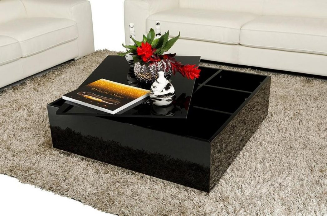 Amazing Wellknown Black Coffee Tables With Storage Intended For Awesome Square Coffee Table Black Lucnex Wood Leather Ottoman With (Image 4 of 40)