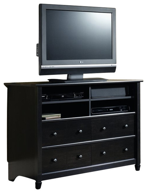 Amazing Well Known Black TV Stands With Drawers Regarding Sauder Edge Water Highboy Tv Stand In Estate Black Modern (Image 4 of 50)