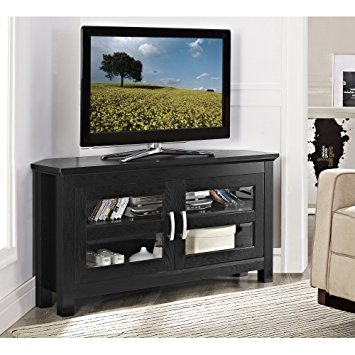Amazing Well Known Black TV Stands With Glass Doors For Amazon New 44 Inch Wide Corner Tv Stand Black Finish And (Image 5 of 50)