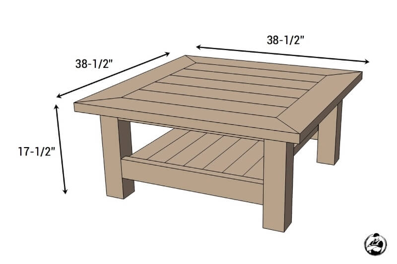 Amazing Wellknown Chunky Wood Coffee Tables Within Square Coffee Table W Planked Top Free Diy Plans (Image 3 of 50)