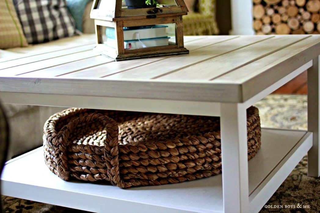 Amazing Well Known Coffee Tables With Baskets Underneath Intended For Bedroom Pleasant Table Baskets Coffee Tables Wicker Basket Is Also (Image 3 of 40)
