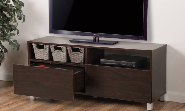 Amazing Well Known Dark Walnut TV Stands Pertaining To Delonte Dark Walnut Tv Stand Groupon Goods (Image 5 of 50)