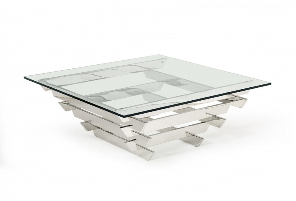 Amazing Wellknown Glass And Chrome Coffee Tables Pertaining To Square Glass Chrome Coffee Table (Image 4 of 50)