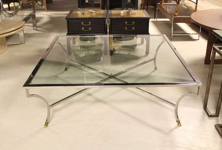 Amazing Well Known Metal And Glass Coffee Tables Pertaining To Large Glass Coffee Table With Metal Legs (View 40 of 50)