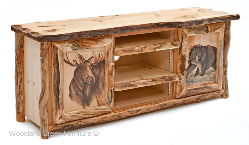 Amazing Well Known Rustic Wood TV Cabinets Inside Rustic Log Entertainment Center Log Cabin Tv Stand (View 40 of 50)