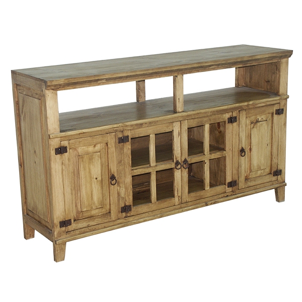 Amazing Wellknown Solid Pine TV Stands Within 60034 Rustic Tv Stand Western Solid Wood Rustic Console Glass (View 41 of 50)