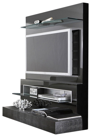 Amazing Well Known Wall Mounted TV Stands Entertainment Consoles Pertaining To Rossetto Diamond Flat Screen Tv Stand Black Lacquer (View 47 of 50)