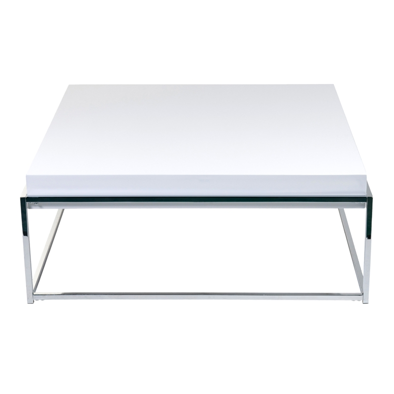 Amazing Well Known White And Chrome Coffee Tables Pertaining To District17 Greta Coffee Table In White Lacquer And Chrome Tables (Image 4 of 50)