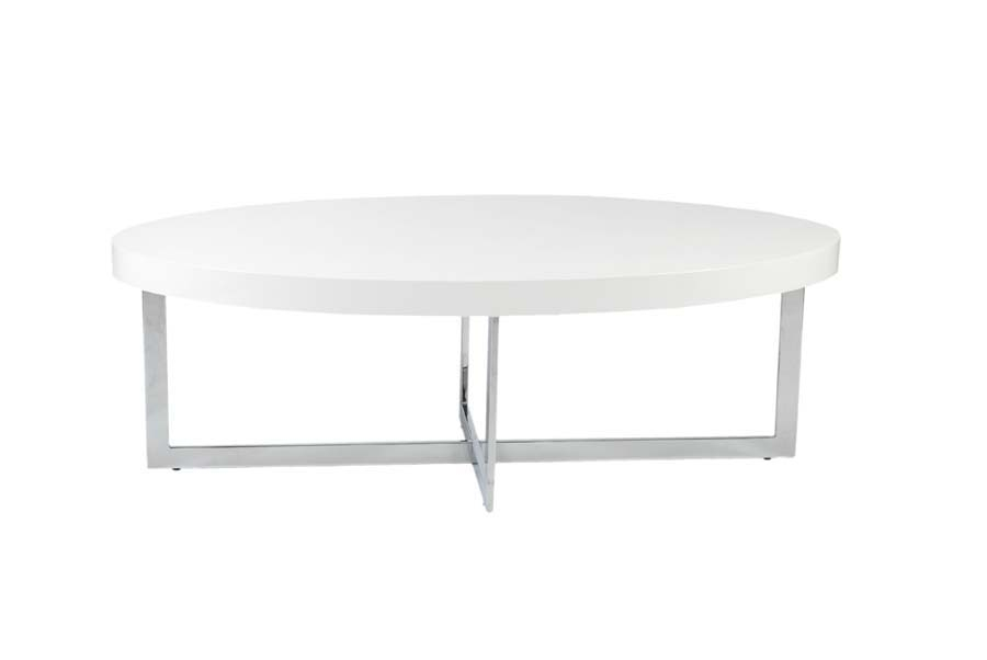 Amazing Wellknown White Oval Coffee Tables Within Eurostyle Oliver Oval Wood Top Coffee Table In White Lacquer (View 50 of 50)