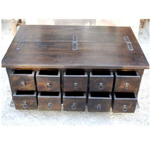 Amazing Well Known Wooden Storage Coffee Tables Intended For Wood Storage Coffee Table With 10 Drawers (Image 2 of 50)