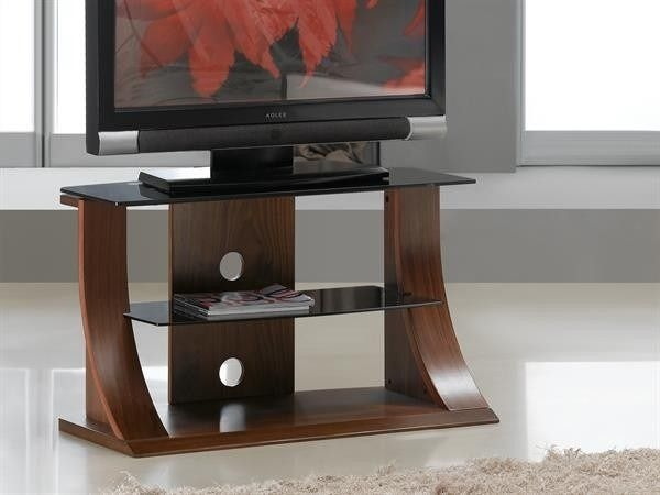 Amazing Wellliked Glass And Oak TV Stands With Regard To Jual Furnishings Jf201 1100 Curved Walnut Tv Stand 40  (Image 2 of 50)