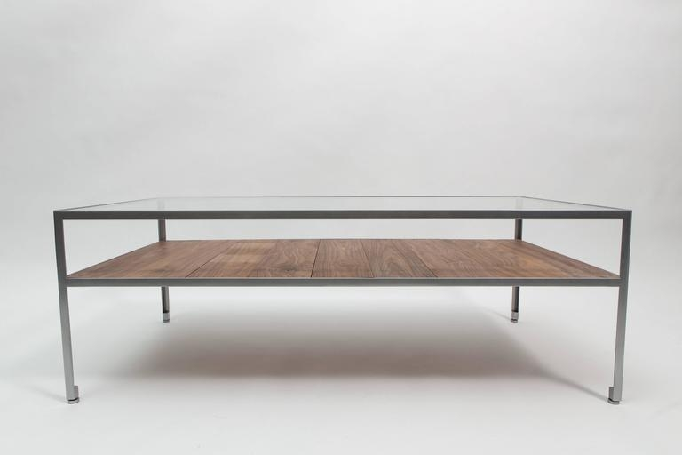 Amazing Wellliked Glass Steel Coffee Tables For Angle Steel Coffee Table With Nickel Frame Glass Top And Walnut (Image 3 of 50)