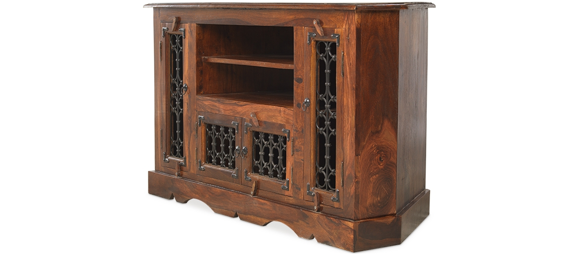 Amazing Wellliked Jali TV Cabinets With Regard To Jali Sheesham Corner Tv Cabinet Quercus Living (Image 5 of 50)