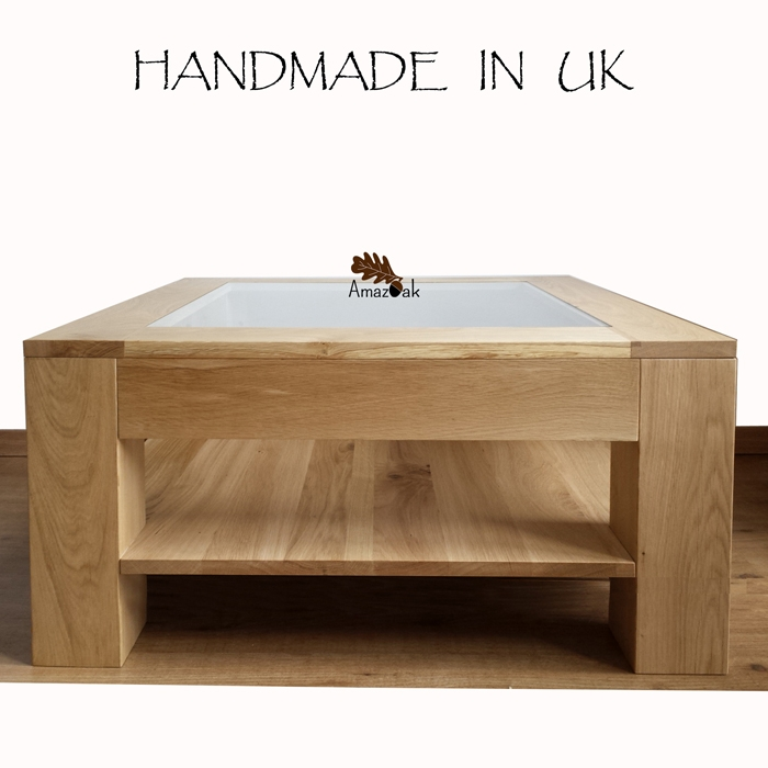 Amazing Wellliked Oak And Glass Coffee Tables Intended For Coffee Table Glass Top 1 Shelf Amazoak (Image 3 of 50)