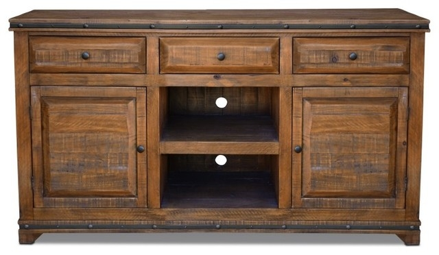 Amazing Wellliked Rustic Wood TV Cabinets For Reclaimed Solid Wood Credenza Tv Stand With 3 Drawers Rustic (View 46 of 50)