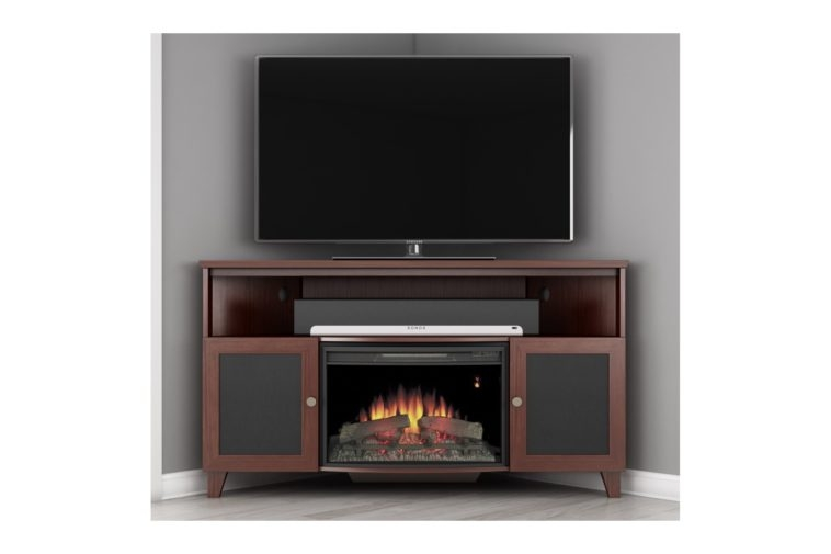 Amazing Wellliked Single Shelf TV Stands In Furniture Brown Wooden Corner Electric Fireplace Tv Stand With (View 39 of 50)