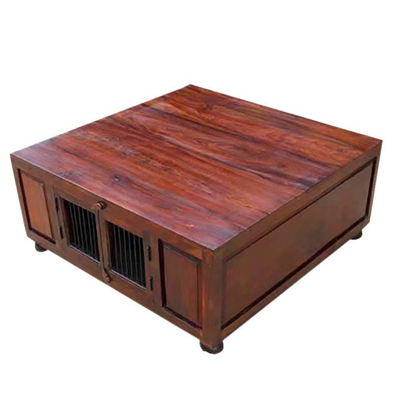 Amazing Wellliked Square Storage Coffee Table Regarding Wood Square Storage Trunk Cocktail Coffee Table (Image 7 of 50)