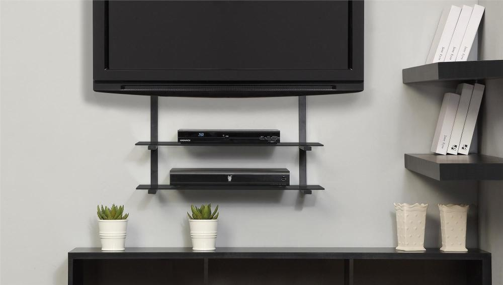 Amazing Wellliked Wall Mounted TV Stands With Shelves Within Corner Wall Mount Tv Stand With Shelf Home Design Ideas (Image 3 of 50)